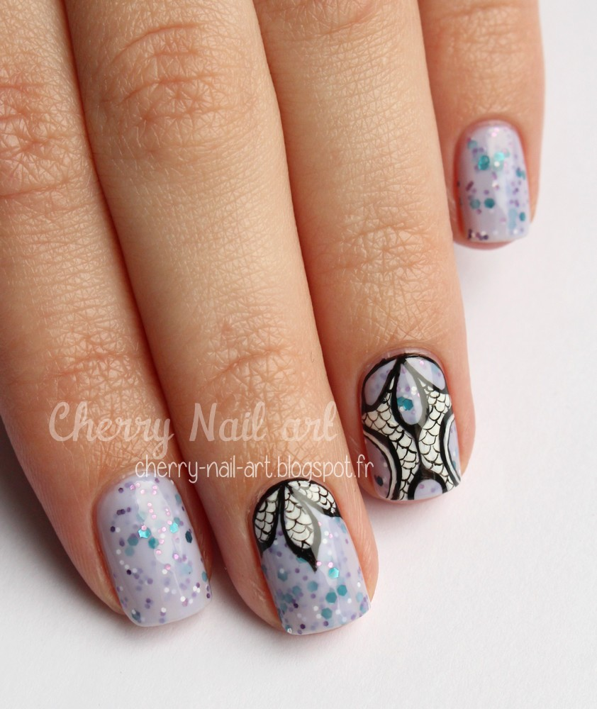 nail art abstrait geometrique paillettes