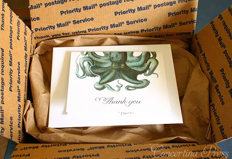Octopus Thank You Note and wedding invitation packaging from Concertina Press