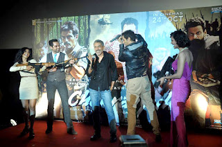 Esha Gupta, Arjun Rampal and Abhay Deol at First look launch of 'Chakravyuh'