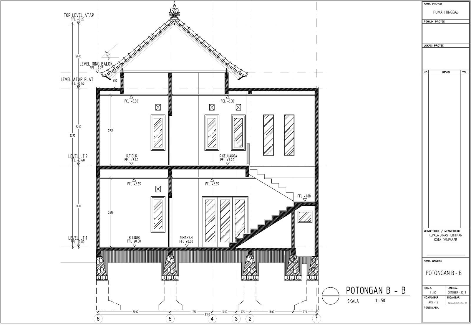 gambar imb rumah tinggal tipe 120 m2 di denpasar tsg