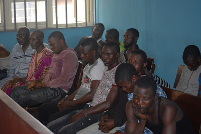 THE 17 men arraigned on suspicion of killing tajudeen disu  9