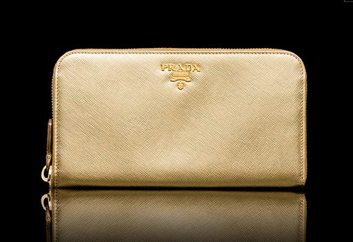 prada purse cheap - Prada Saffiano Leather Zip Around Wallet 1M0506 - Platinum (Gold)