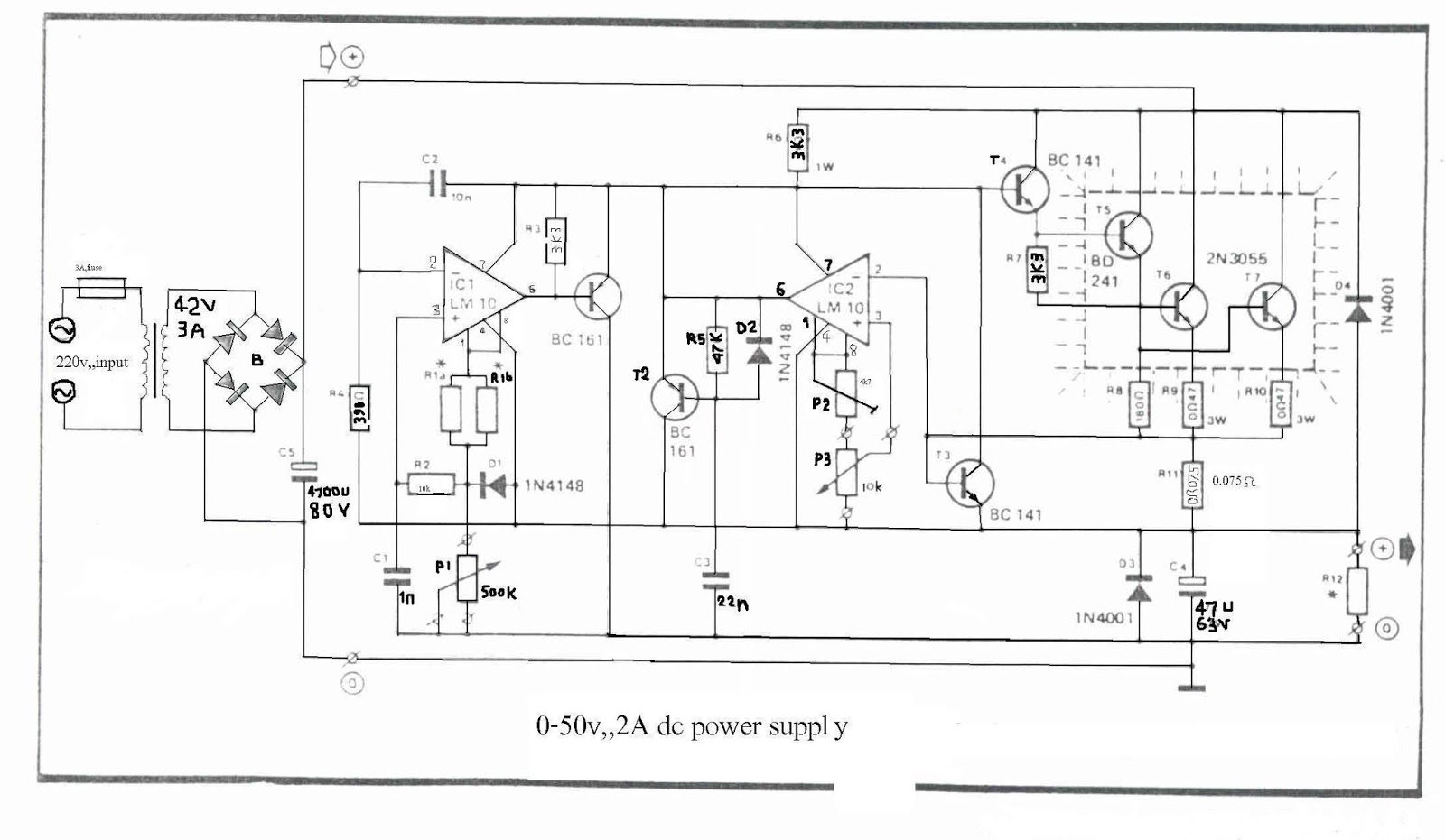 Simple 0 50v 2a Bench Power Supply Circuit Diagram