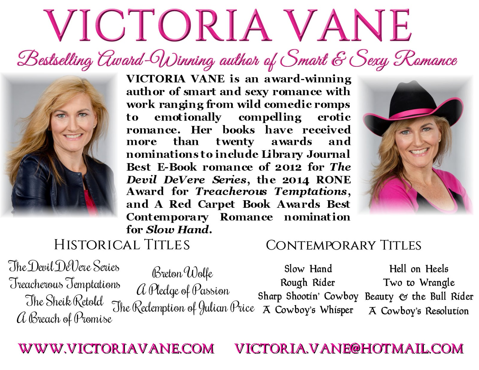 Victoria Vane Is A #1 Bestselling Author Of Smart And Sexy Contemporary  Western Romance And An Awardwinning Author Of Erotic Historical Romance
