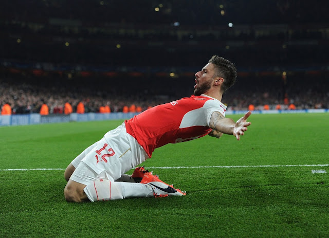 giroud goal celebration vs bayern munich 2015