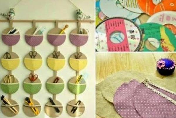 Organizador De Baño En Tela Paso A Paso:Organizador de pared Reciclando Cd´s Manualidades / Más manualidades