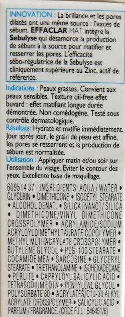 La Roche-Posay Effaclar Mat Moisturiser Ingredients