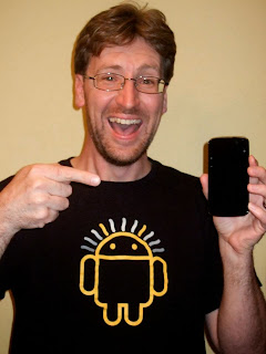 pointing excitedly at my new Google Nexus 4 smartphone