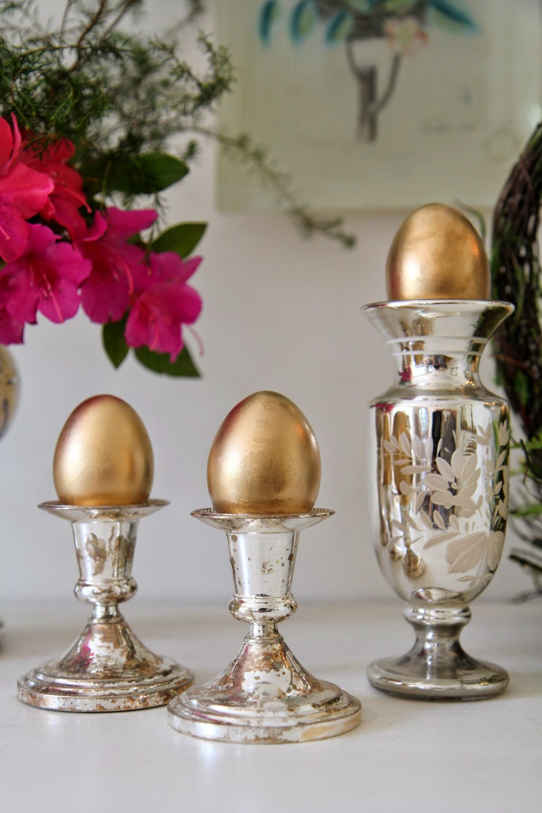 Golden Eggs in mercury glass and silver; Easter Buffet Table Decor - Nora's Nest