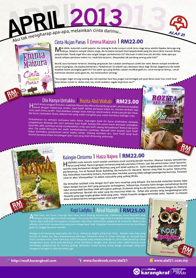 Novel-Novel Alaf 21 Terbitan April 2013