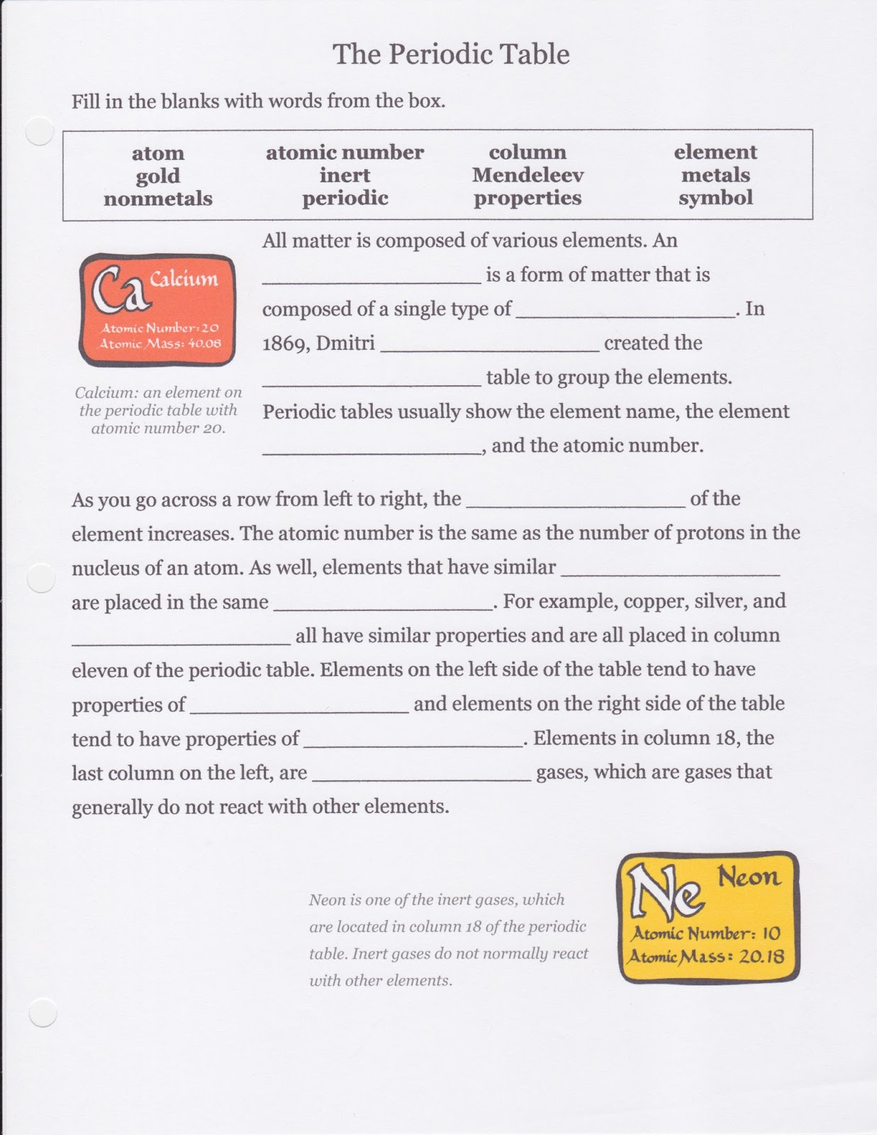 Dr gaydens chemistry class wednesdaythursday 1415 october 2015 students completed a cloze activity on the periodic table you can find the handout below urtaz Choice Image