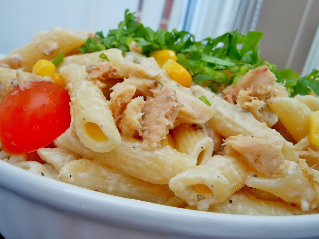 ... : Creamy Salmon Penne Pasta Salad with Corn and Cherry tomatoes