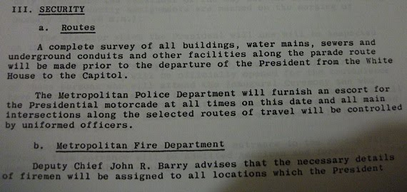 From JFK's Inaugural Parade Secret Service Survey Report (given to me by a now-deceased PRS agent
