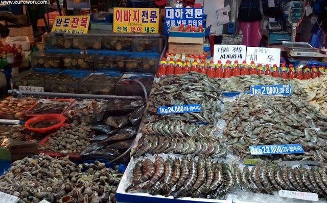 Gambas de diferentes tamaños en Noryangjin