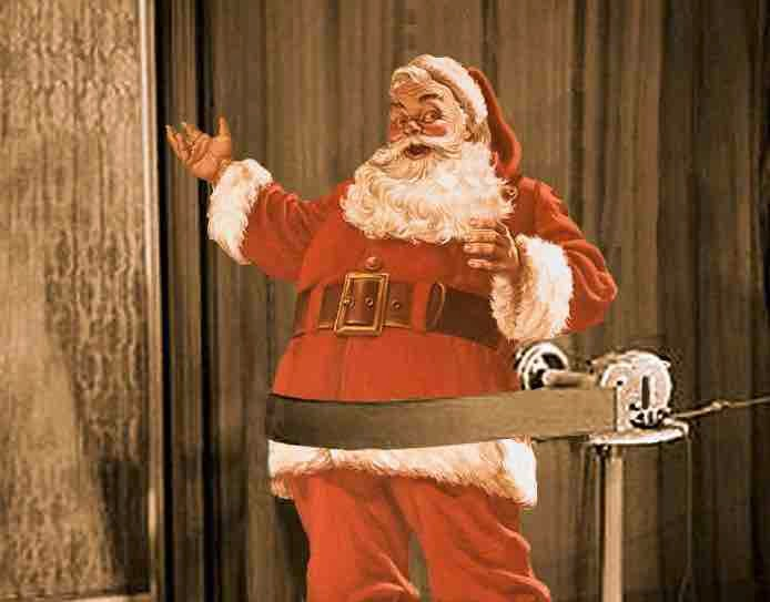Santa  Clause takes off some extra pounds with a Jiggle Belt