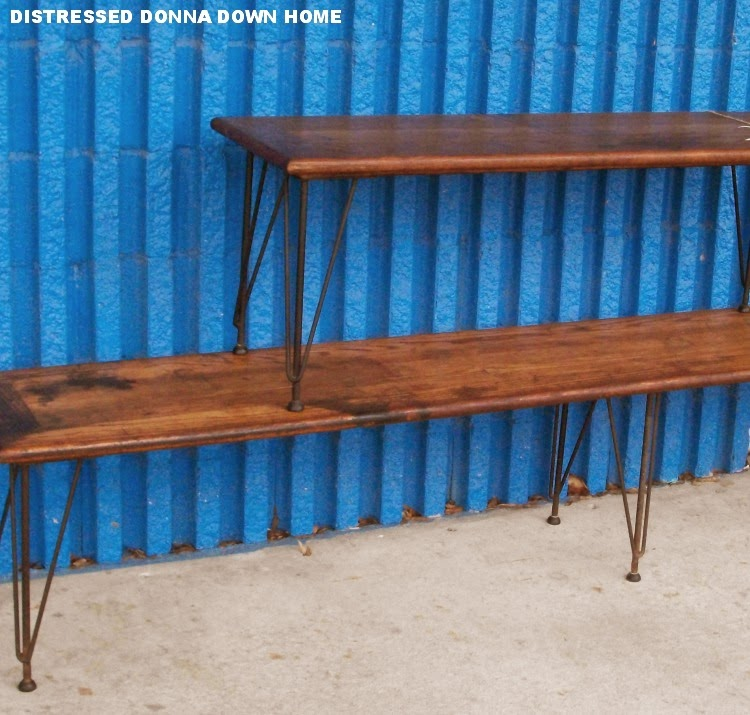 stadium benches, mid-century modern furniture, oak bench with wrought iron legs