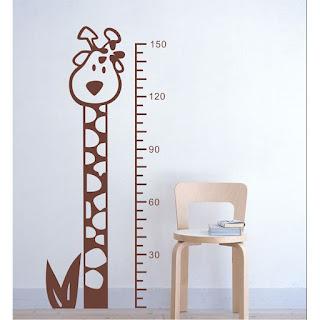 medidor en vinilo decorativo, infantil jirafa