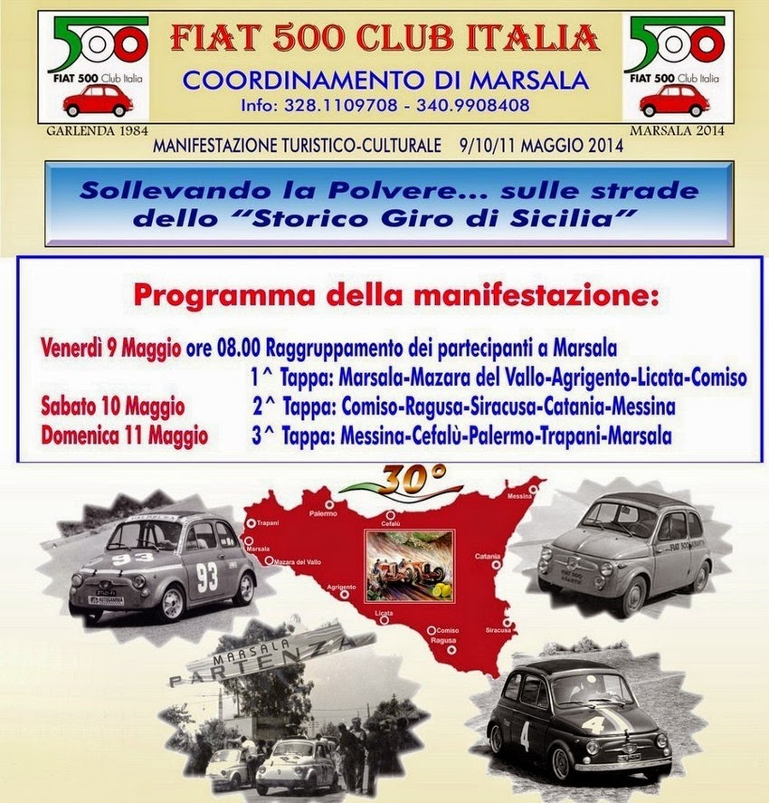 LA MITICA FIAT 500 SULLE STRADE DI VINCENZO FLORIO FA TAPPA A MESSINA