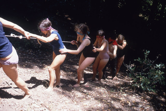 Blindfold Walk, Kentfield, CA. Experiments in Environment Workshop, July 2, 1968. Courtesy of the Lawrence Halprin Collection, The Architectural Archives, University of Pennsylvania.