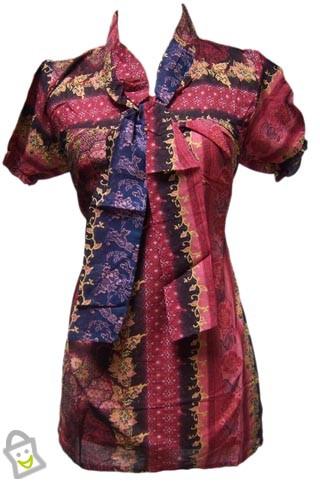 gambar contoh model model busana batik untuk kerja wanita dan pria