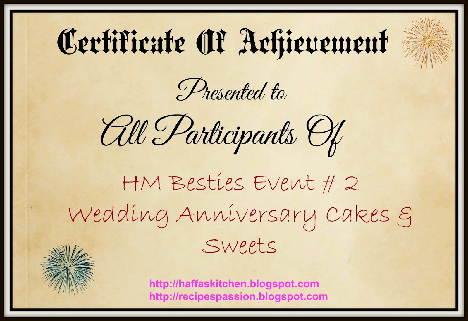 Blog Events| Event Round up| Wedding Anniversary Ideas| Cakes Ideas| Certificate of achievement