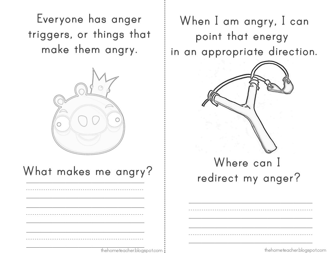 More Dont Be An Angry Bird Printables The Home Teacher – Anger Management Worksheets Pdf