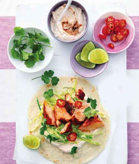 Grilled salmon tacos with chipotle lime yoghurt