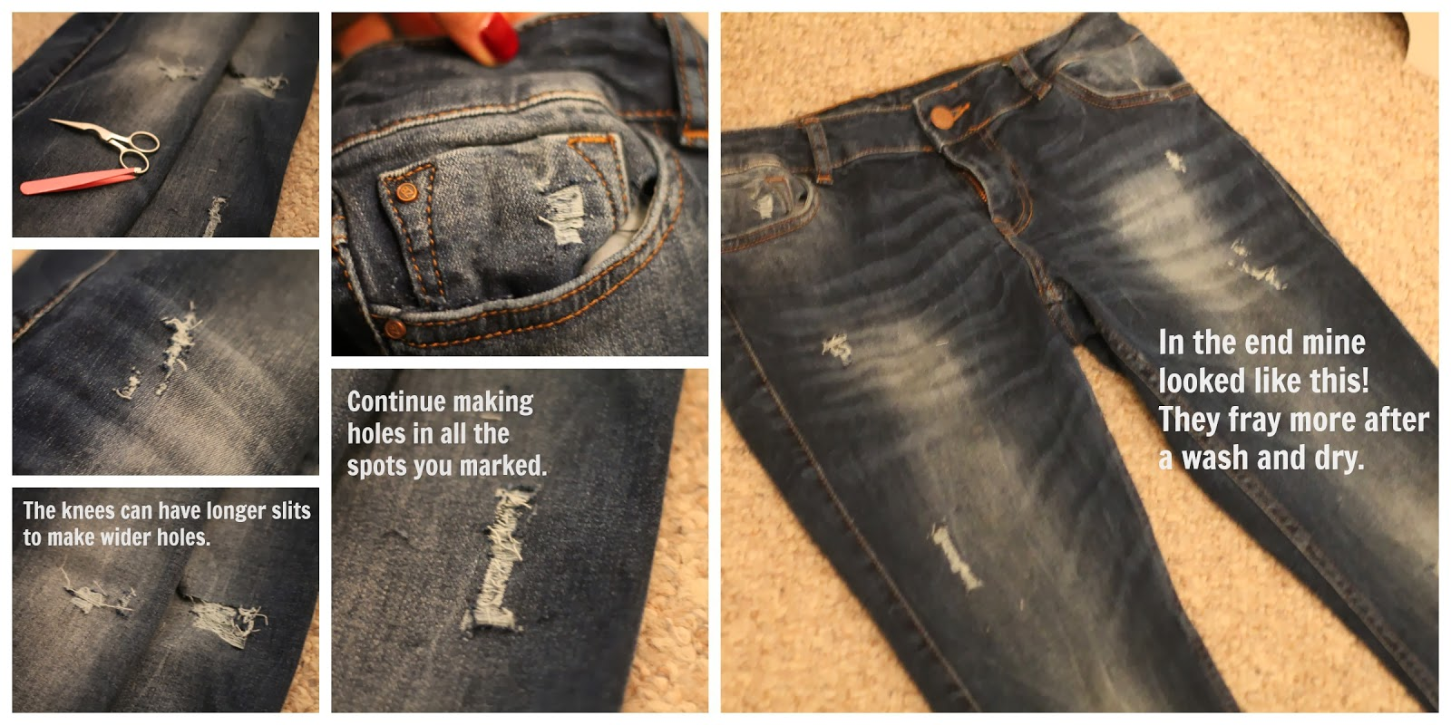 DIY, holes, jeans, distressed, denim
