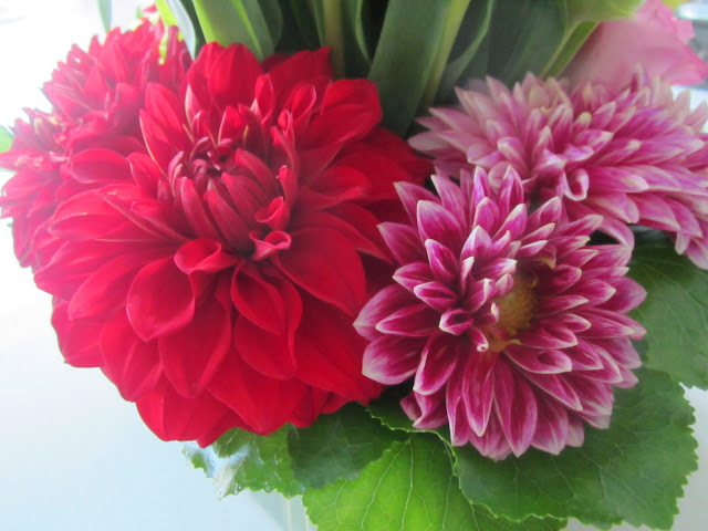 Close up of a red flower arrangement