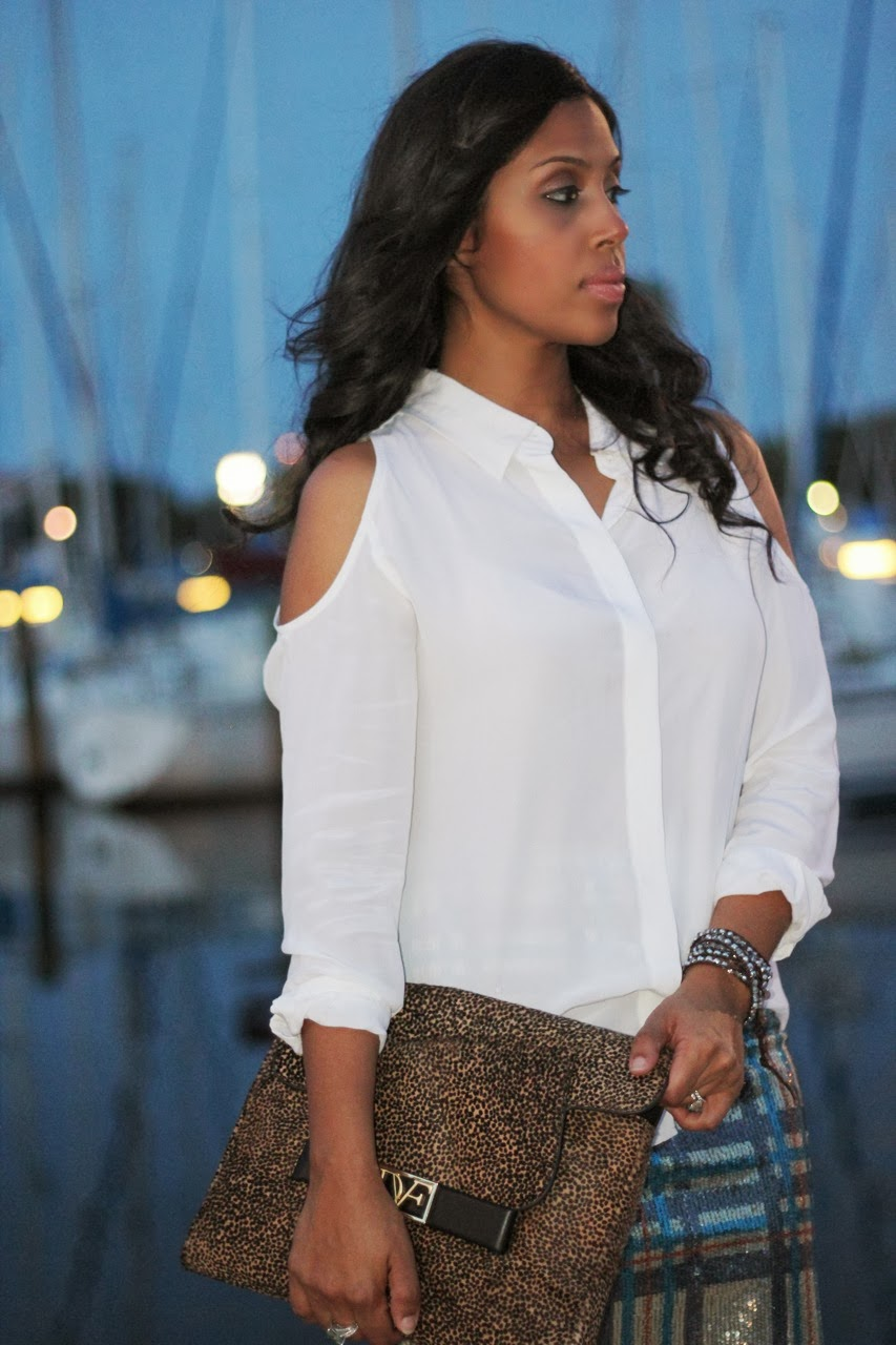 marina woman long hair wavyEquipment cold shoulder silk blouse top plaid sequin pencil skirt topshop louboutin nude shoe pump dvf leopard clutch