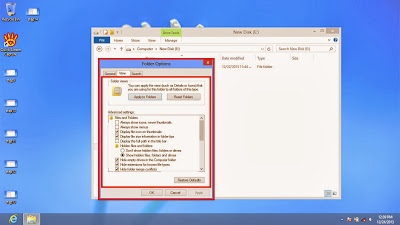 Learn how to disable show or don't show hidden files and folders in windows 8 step15