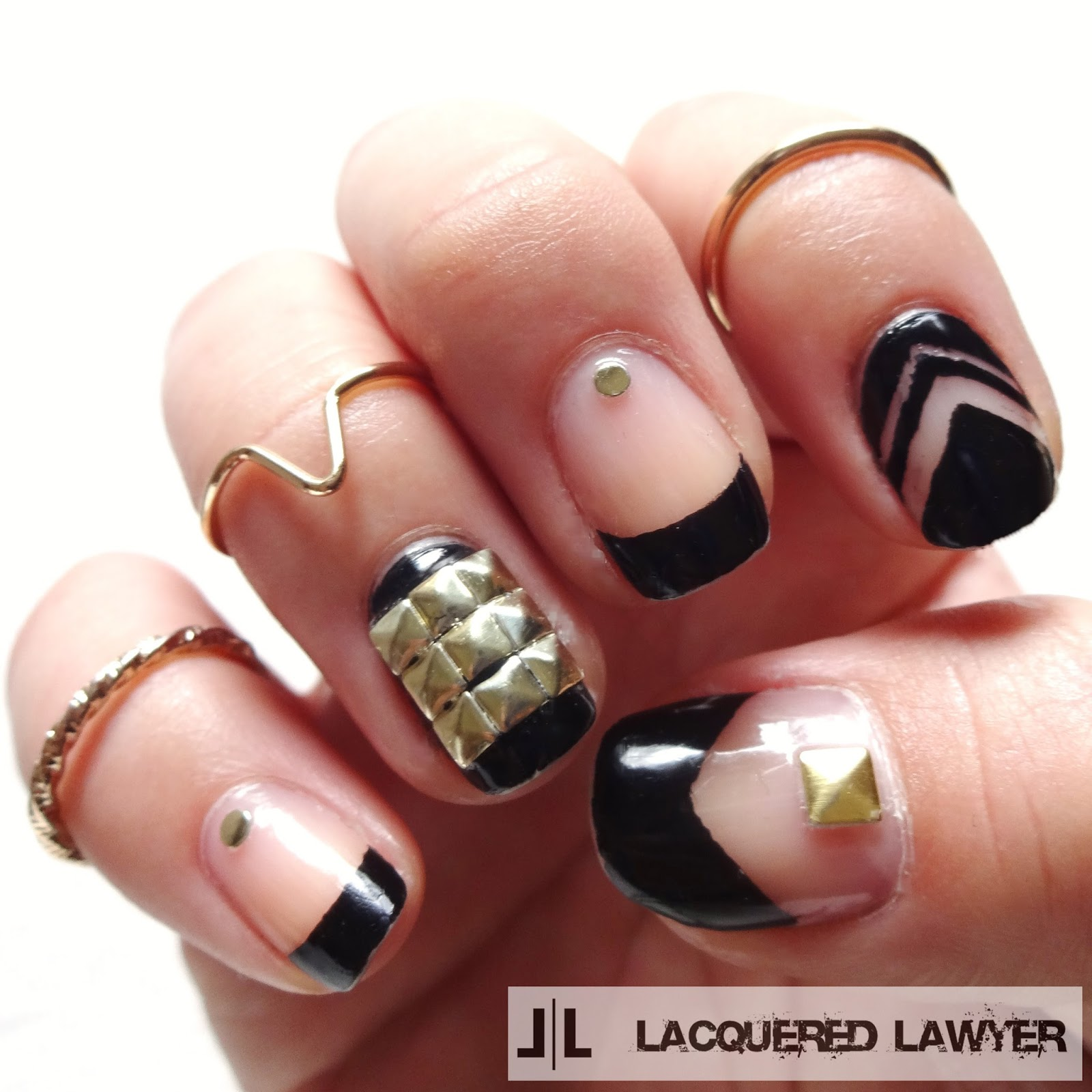 Black Negative Space Nail Art