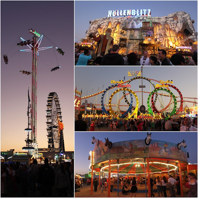 The popular wave swingers, Olympic Loops and pony rides for adults and children at Octoberfest festival in Munich, Germany