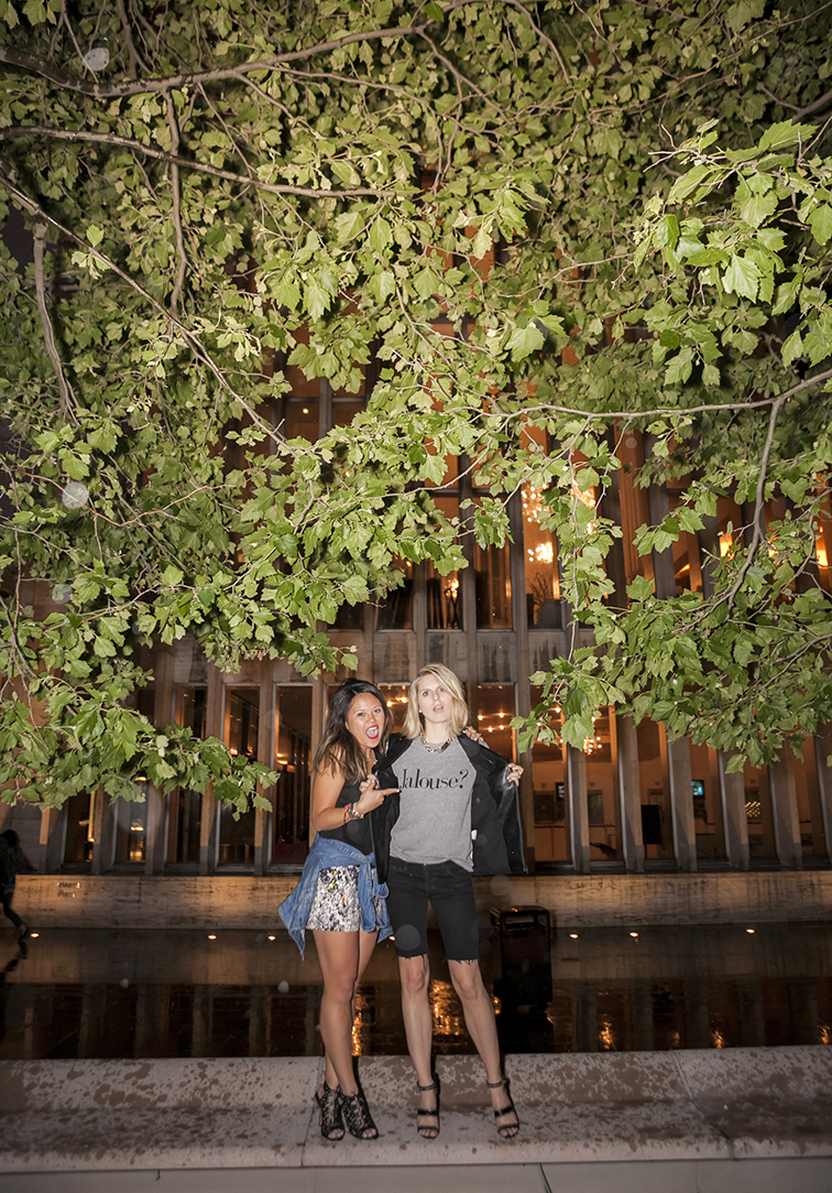 Lincoln Center Plaza at Nighttime, photoshoot, MIMO Market clothing boutique in New York City, Chrldr Jalouse tee, Mink Pink moto leather vest, Joa print shorts, summer rain, foliage