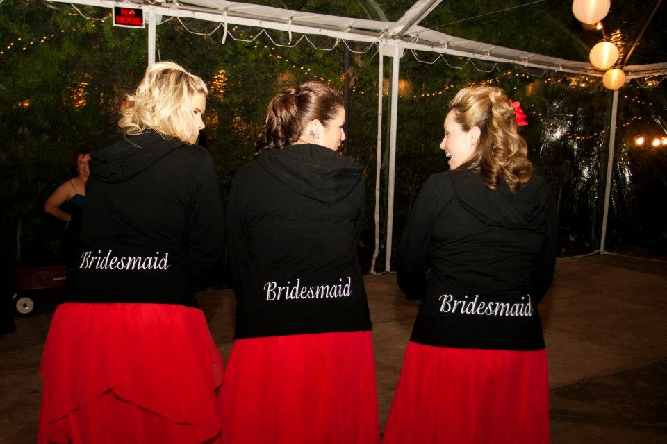matching bridesmaids jackets for an evening wedding reception www.thebrighterwriter.blogspot.com