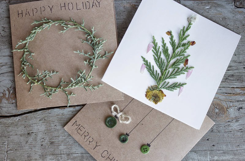 simple, natural, Christmas cards, pressed flower cards