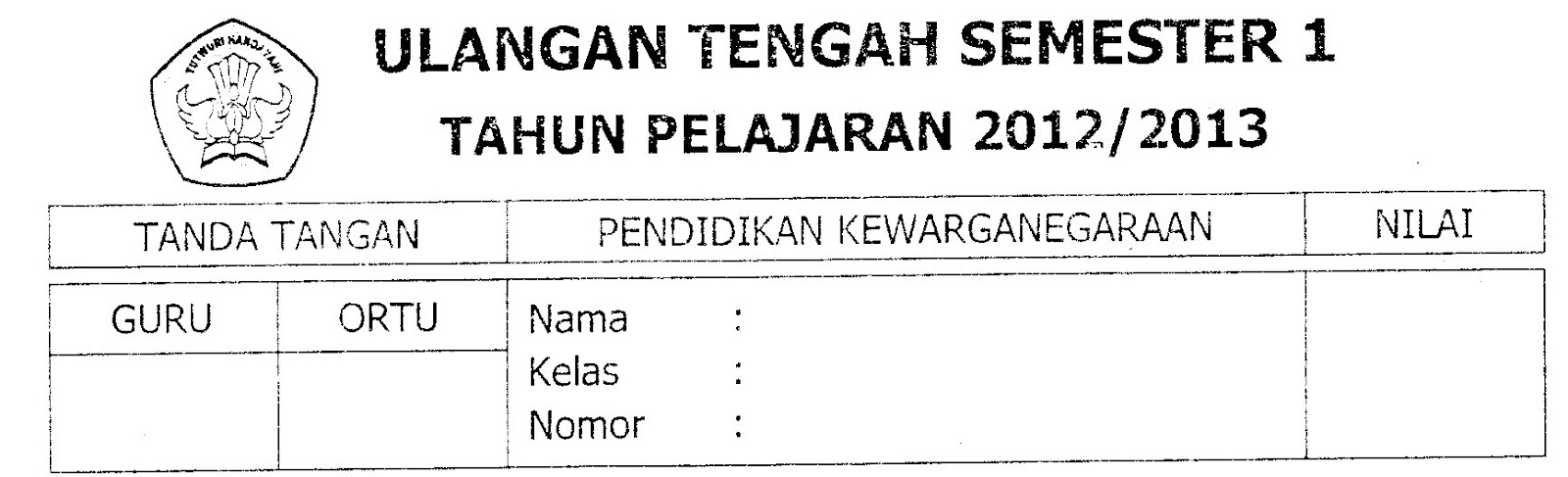 Soal uts 1 - pkn - kelas 5 - ta.2012/2013