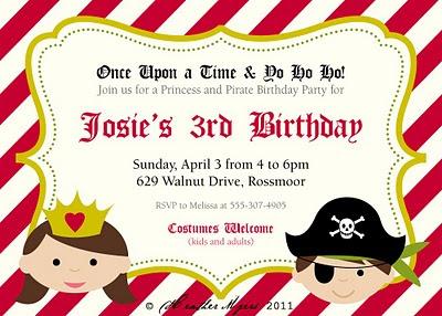 Heather L Myers graphic design Princess Pirate Party Invitation – Pirates and Princess Party Invitations