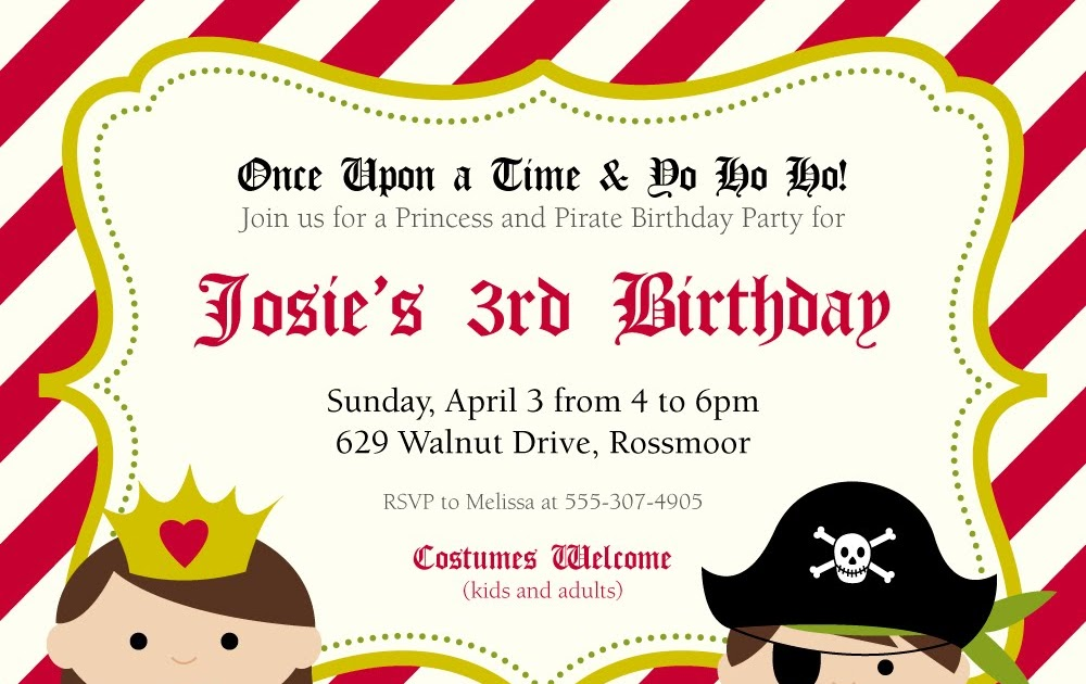 Heather L Myers : graphic design: Princess & Pirate Party Invitation
