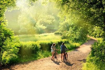 Haciendo ejercicio en el campo respirando el aire fresco de la mañana (Escenarios Naturales) - Natural landscapes