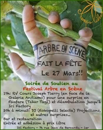 Soirée et concert gratuit de soutien au Festival Arbre en Scene 2015 à Marseille.