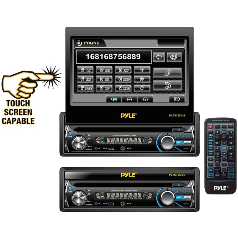 Pyle+PLTS78DUB+7 Inch+In Dash+Detachable+Motorized+Touchscreen+TFTLCD+Monitor+with+DVDCDMP3MP4USBSDAM FM+Bluetooth+Receiver in dash video receivers june 2014  at aneh.co