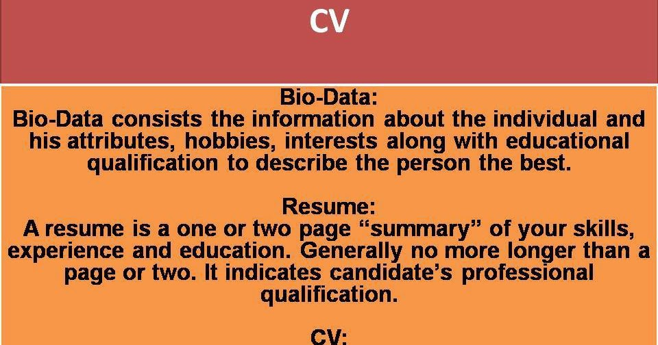 what is the difference between biodata resume and cv