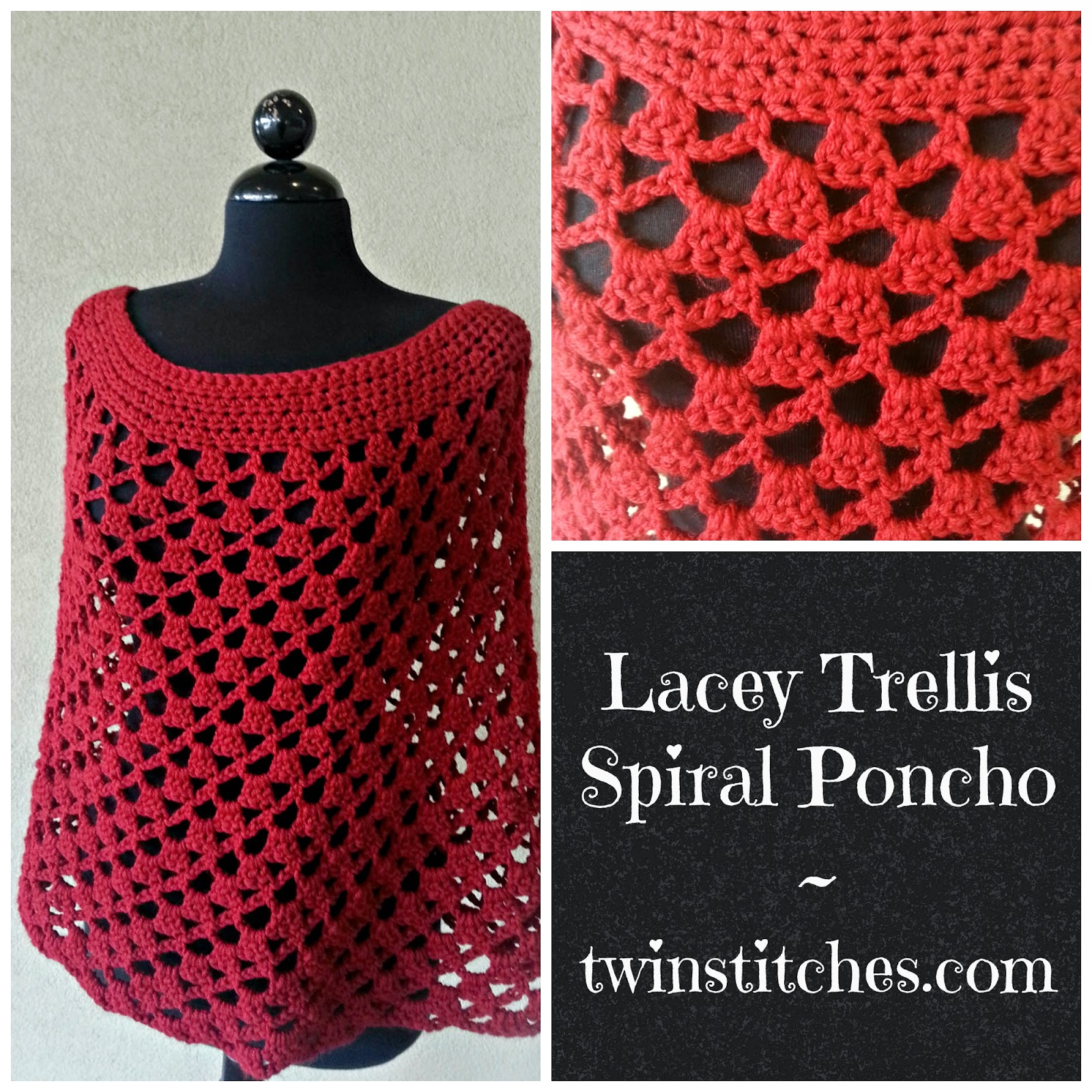 Tw-In Stitches: Update to Lacey Trellis Spiral Poncho Pattern | Tw ...