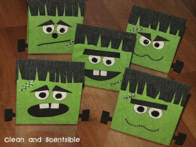 crafts for halloween: frankenstein treat bags