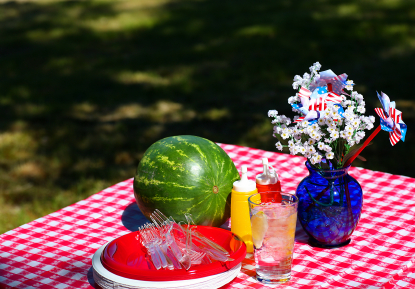Picnic table and utensils