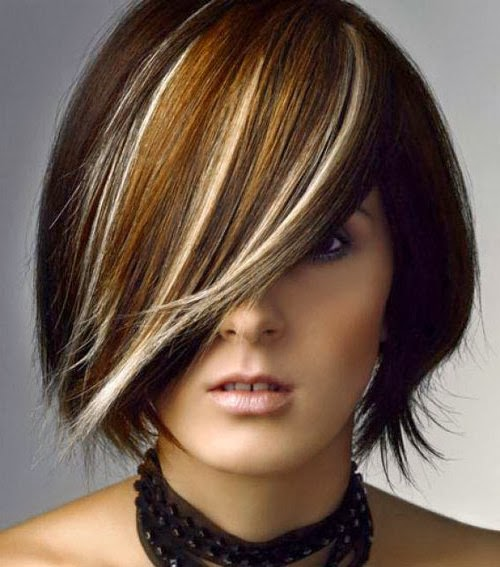 blonde highlights on black hair styles