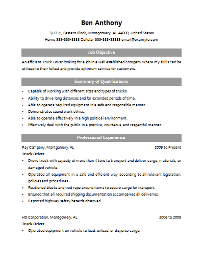 truck driver resume 0644
