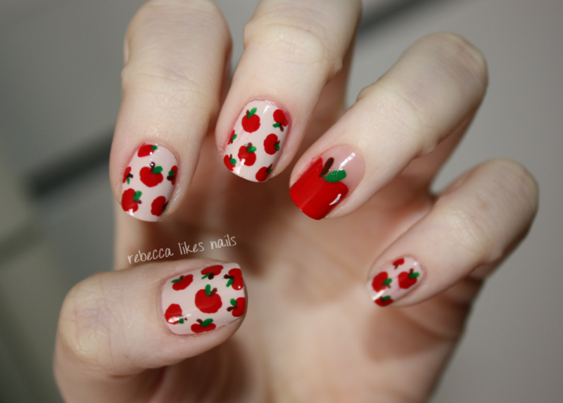 Nail art design apple apple fruit nail designs simple nails view images these nails may look difficult prinsesfo Images