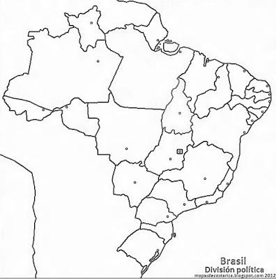 Mapa de los estados y el distrito federal brasileños , blanco y negro